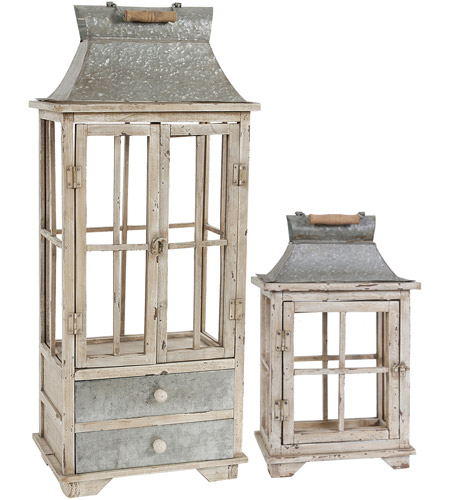 A&B Home 32885 Evelyn 21 X 12 inch Silver and White Patio Candle Lanterns, Set of 2 photo