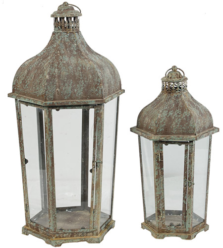 A&B Home 36083 Armand 23 X 12 inch Brown and White Patio Candle Lanterns, Set of 2 photo