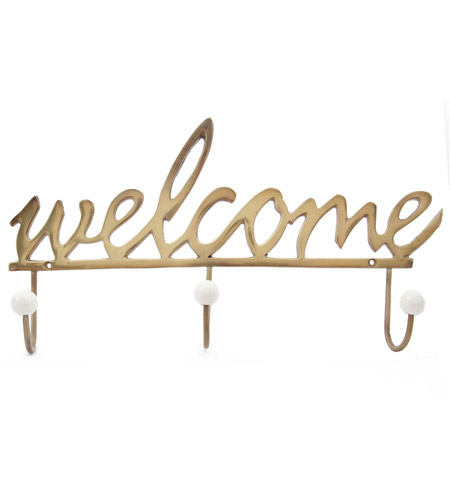 A&B Home 39888 Welcome 19 inch Gold Wall Hook photo