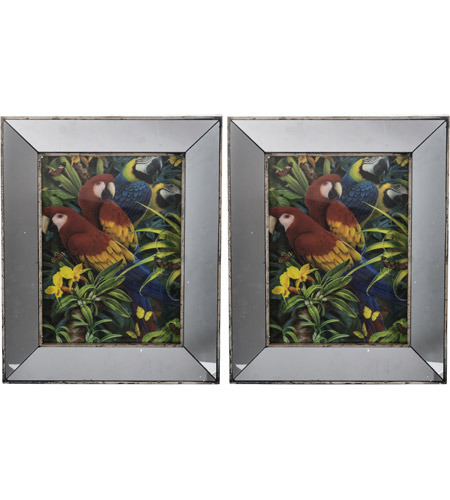 A&B Home 43644-DS Daven Mirrored and Multi-Color Wall Art, Set of 2 photo