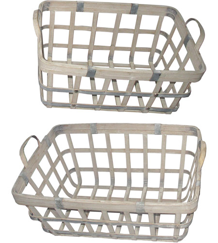 A&B Home 43767 Rustic 22 X 11 inch Basket, Set of 2 photo