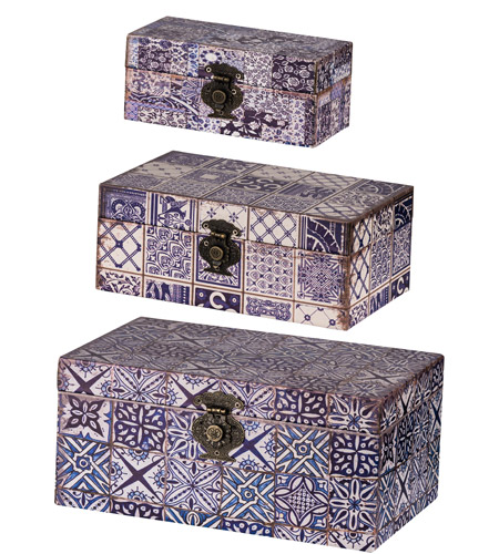 A B Home Av44249 Vintage 12 Inch Blue And White Decorative Box Set Of 3