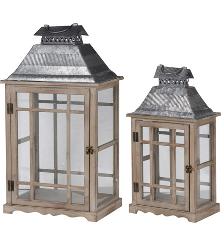 A&B Home D42229 Classic Scape 26 X 14 inch Zinc and Brown Patio Candle Lanterns, Set of 2 photo