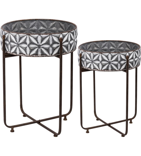 D44149 Round Gray And White Plant Stand