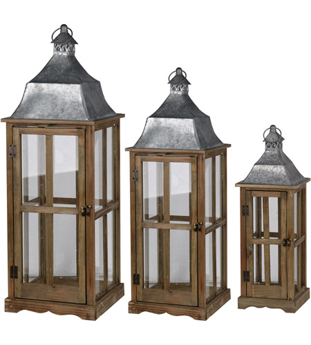 A&B Home HP42240 Window 35 X 13 inch Brown Patio Candle Lanterns, Set of 3 photo