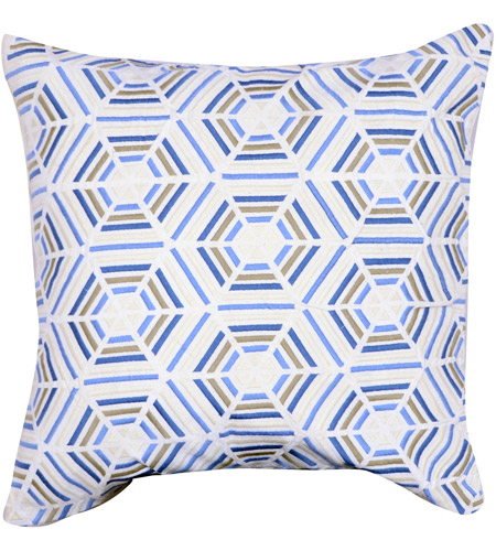 A&B Home T37970-BLUE Embroidered 20 inch White and Blue Pillow photo