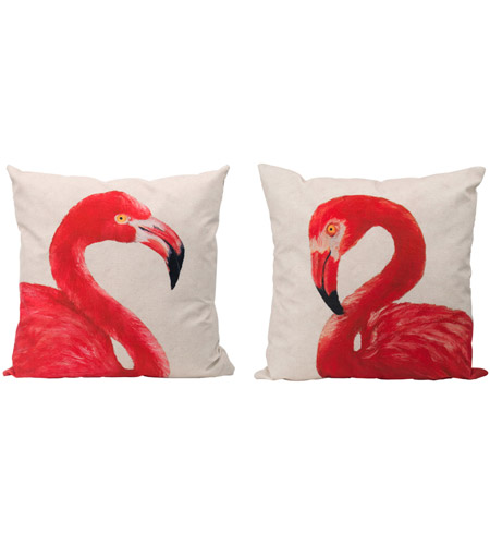 A B Home T48075 Pink Flamingo 23 X 6 Inch Pink Off White Accent Pillow