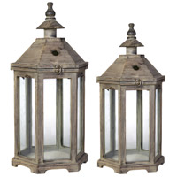 Graca 23 X 12 inch Natural Patio Candle Lanterns, Set of 2