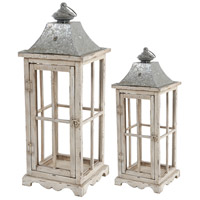 Evelyn 18 X 7 inch Silver and White Wash Patio Candle Lanterns, Set of 2
