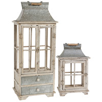 Evelyn 21 X 12 inch Silver and White Patio Candle Lanterns, Set of 2