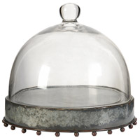 A&B Home 34299 Knox Silver and Clear Pedestal Plate with Glass Dome photo thumbnail