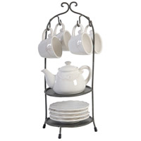 A&B Home 35078 Louis White and Dark Bronze Tea Set with Stand, Set of 10