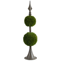 Spired Antique Bronze and Green Faux Botanical