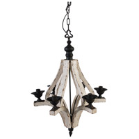 A&B Home 35540 Harper 22 inch White Wash and Black Chandelier Ceiling Light