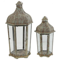 Armand 23 X 12 inch Brown and White Patio Candle Lanterns, Set of 2