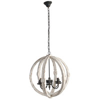 A&B Home 36407-DS Calder 22 inch Distressed White Chandelier Ceiling Light