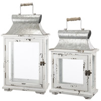 Evelyn 13 X 9 inch Silver Patio Candle Lanterns, Set of 2