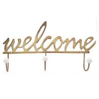 A&B Home 39888 Welcome 19 inch Gold Wall Hook photo thumbnail