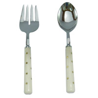 Alice Silver and Ivory Salad Servers, Set of 2