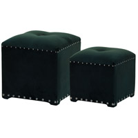 Upholstered 19 inch Green Stool, Set of 2