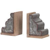 Marna 4 inch Silver and Natural Bookends, Set of 2