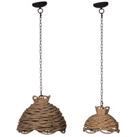 A&B Home 43739-DS Rope 18 inch Natural Chandelier Ceiling Light Set of 2