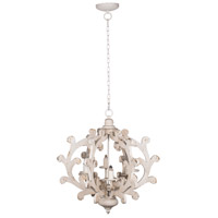 A&B Home 43743-DS Country 25 inch Vintage White Chandelier Ceiling Light