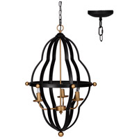 A&B Home 43951-DS Modern Chic 18 inch Matte Black and Brass Chandelier Ceiling Light
