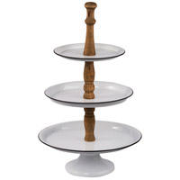 A&B Home 44182 Three-Tier White and Natural 3-Tier Serving Tray