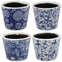 Small Royal Blue and White Planter, Set of 4