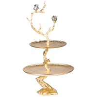 A&B Home AV39717-GOLD Contemporary Shiny Gold 2-Tier Serving Tray