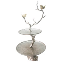 Iron Silver 2-Tier Serving Tray