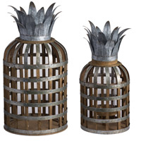 Samana 22 inch Natural Patio Candle Lanterns, Set of 2