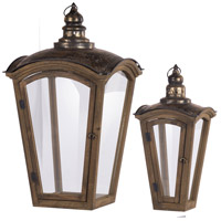 Coach 30 X 16 inch Natural and Gold Patio Candle Lanterns, Set of 2