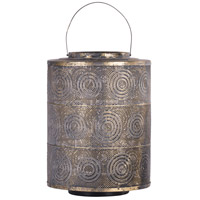 Raj 18 X 13 inch Weathered Gold Patio Candle Lantern