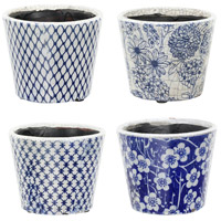 Terracotta Blue and White Planter, Set of 4