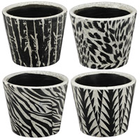 A&B Home D0541 Small Black and White Planter, Set of 4