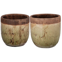 Candia Green and Clay Planter, Set of 2