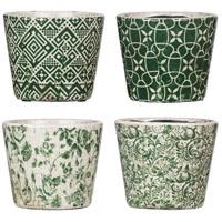 Planters Green and White Planter, Set of 4