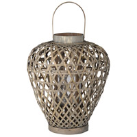 Coconio Wood Lattice 18 inch Brown Patio Candle Lanterns
