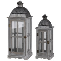 Urban Scape 28 X 10 inch Antique Silver and Gray Patio Candle Lanterns, Set of 2
