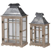 Classic Scape 26 X 14 inch Zinc and Brown Patio Candle Lanterns, Set of 2