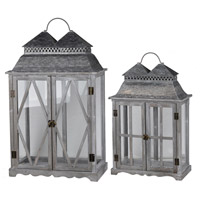 Scape 28 X 18 inch Zinc and Brown Patio Candle Lanterns, Set of 2