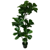 Potted Three-Branch Fiddle Leaf Tree Dark Green Faux Botanical