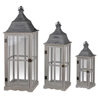 Window 36 X 13 inch Gray Patio Candle Lanterns, Set of 3