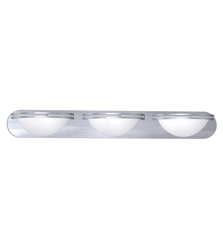 Access Lighting Aztec 3 Light Wall & Vanity in Brushed Steel with WHT Glass 20453GU-BS/WHT