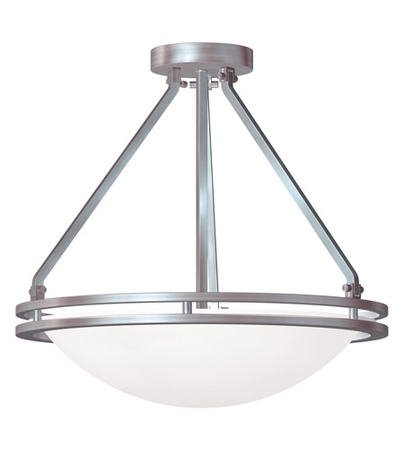 Access C20460BSWHTEN1140C Aztec 1 Light 17 inch Brushed Steel Semi Flush Mount Ceiling Light photo