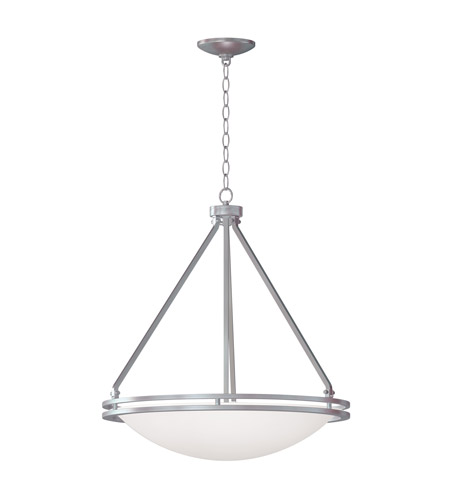 Access 20463GU-BS/WH Access Lighting Aztec 5 Light Pendant in Brushed Steel with White Glass 20463GU-BS/WH  photo