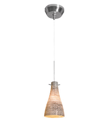 Access Lighting Cavo 1 Light Mini Pendant in Brushed Steel with Black and White Glass 23218UJ-1-BS/BLC photo