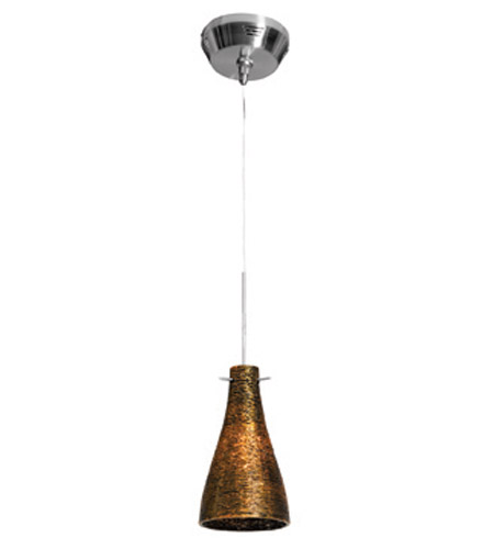 Access Lighting Cavo 1 Light Mini Pendant in Brushed Steel with Gold Glass 23218UJ-2-BS/ORO photo